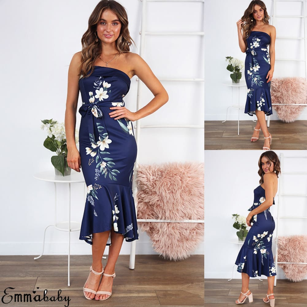 Women Floral Bodycon Dress Sexy Ladies Off Shoulder Summer Cocktail Party Casual Beach Sundress
