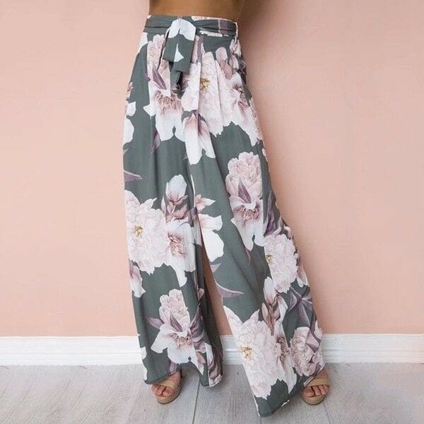 Fashion Women Boho Floral High Waist Long Pants Palazzo Baggy Wide Leg Ladies Summer Loose Casual Trousers
