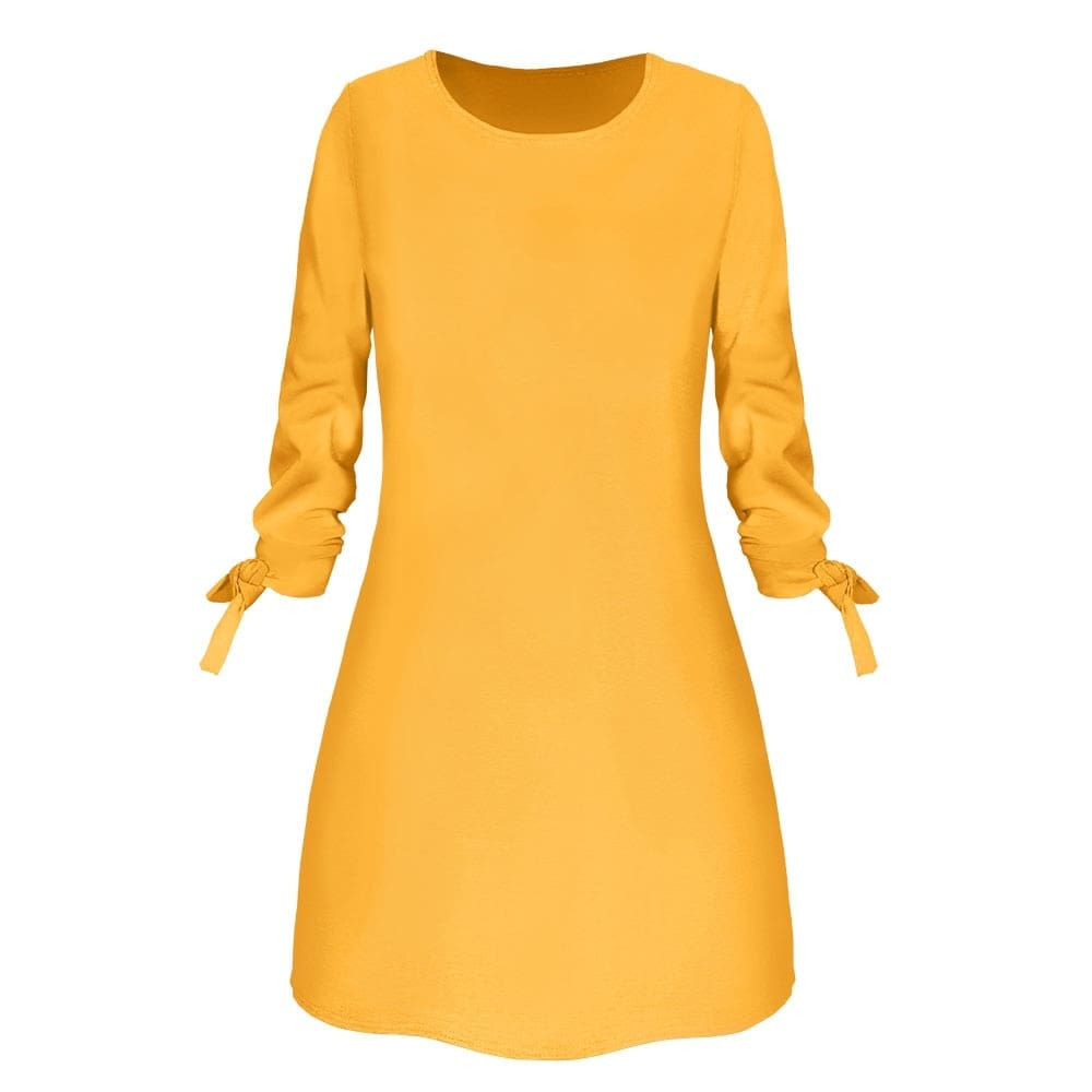 Fashion Dress O-Neck Loose Dresses 3/4 Sleeve Bow Elegant Female