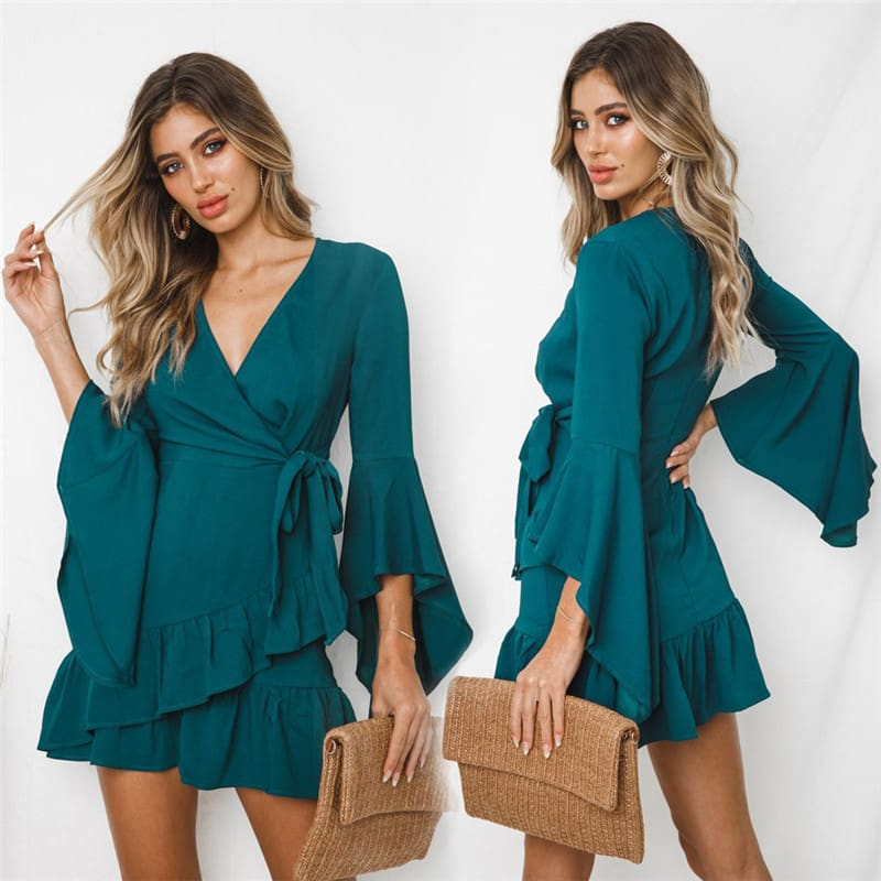 Women Sexy V-Neck High Waist Wrap Mini Dress Ladies Summer Beach Floral Ruffle Dress Sundress