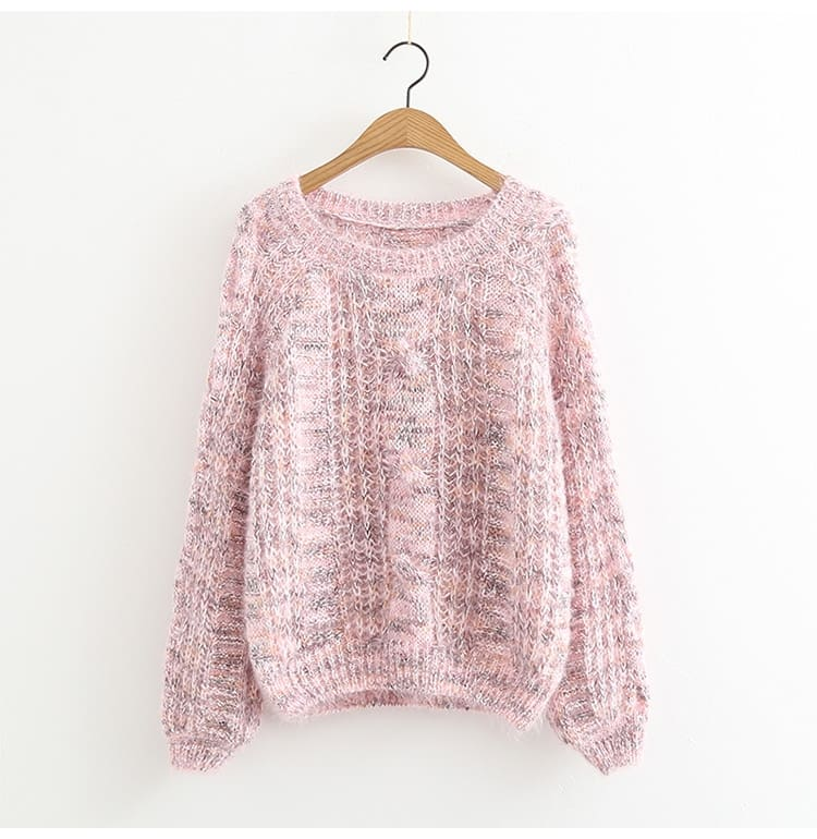 Autumn Winter Womens Knitted Sweater Puff Sleeve Mohair Short Sweaters