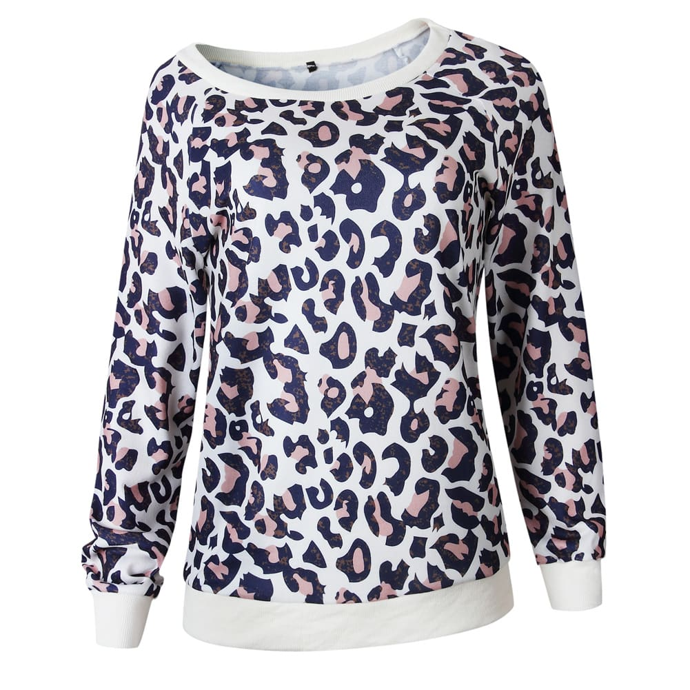2019 Fashion Women Autumn Long Sleeve One Shoulder Top Leopard Tee Shirt Femme Ladies Tops Shirt Streetwear