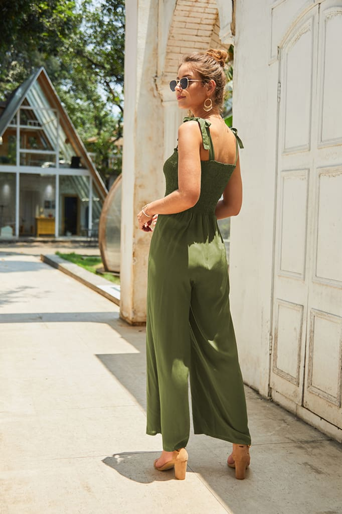 Women Summer Strappy Off Shoulder Jumpsuit Romper Sleeveless Long Wide Pants Playsuit Overalls