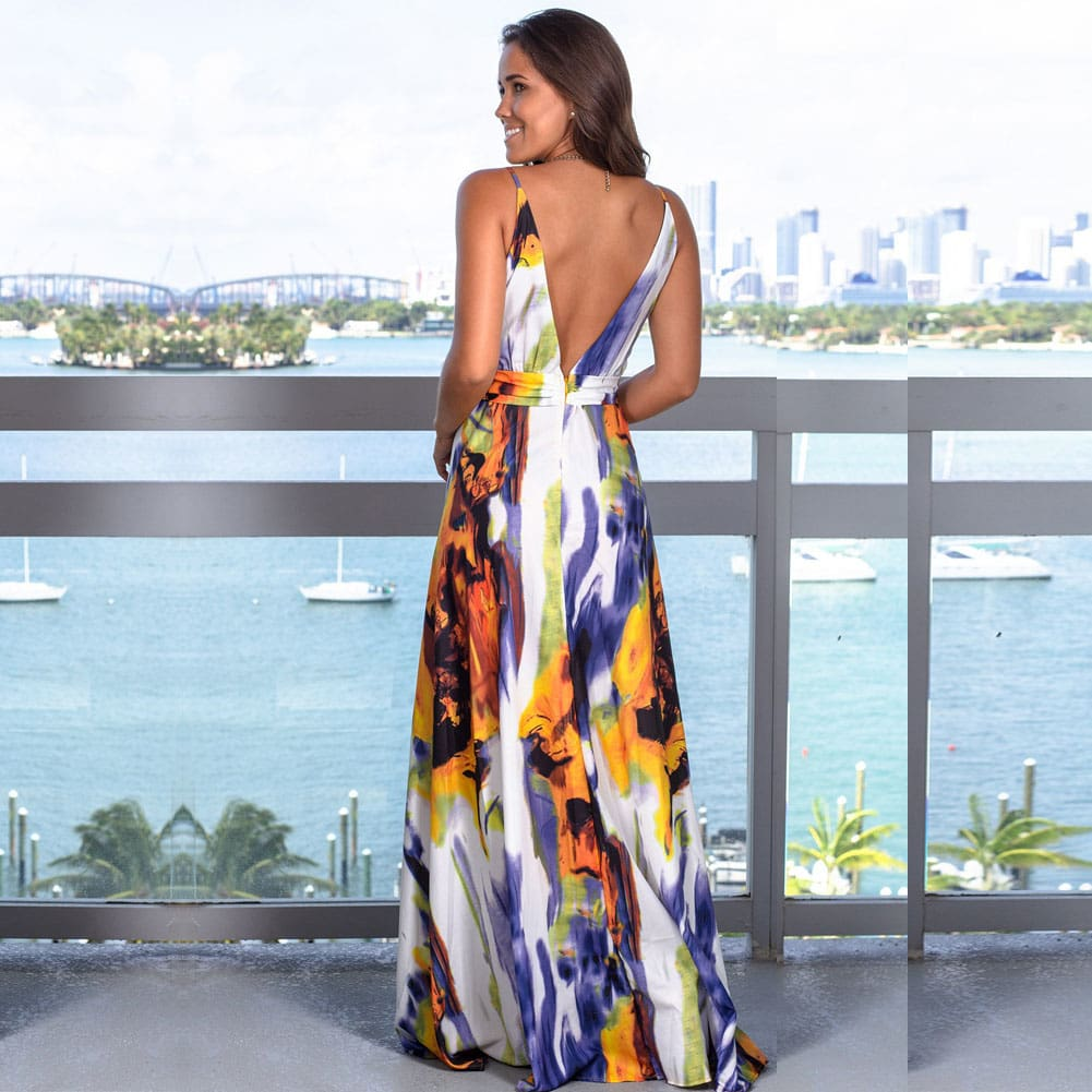 New Women Floral Maxi Dress Fashion Ladies Sleeveless V Neck Prom Evening Party Summer Beach Casual Long Sundress