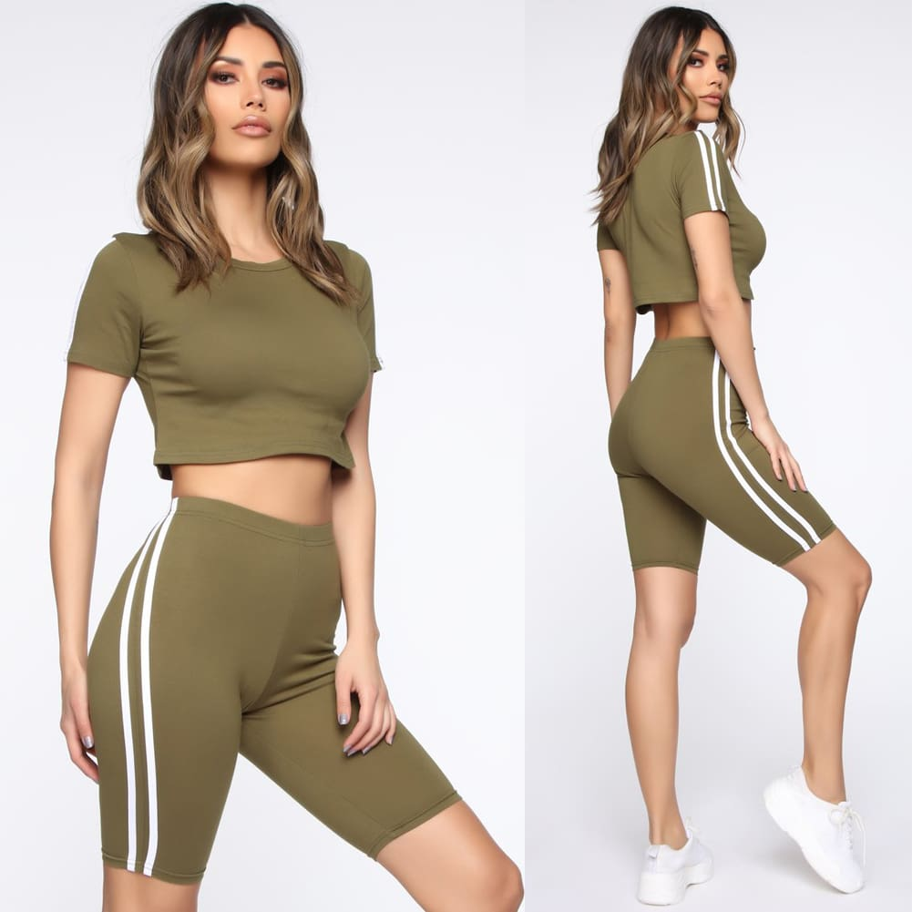 Women 2pcs Sports Suit Solid Crop Top + Shorts Beach Wear Running Gym Stripe Outfits Summer Casual Workout Clothes Tracksuit