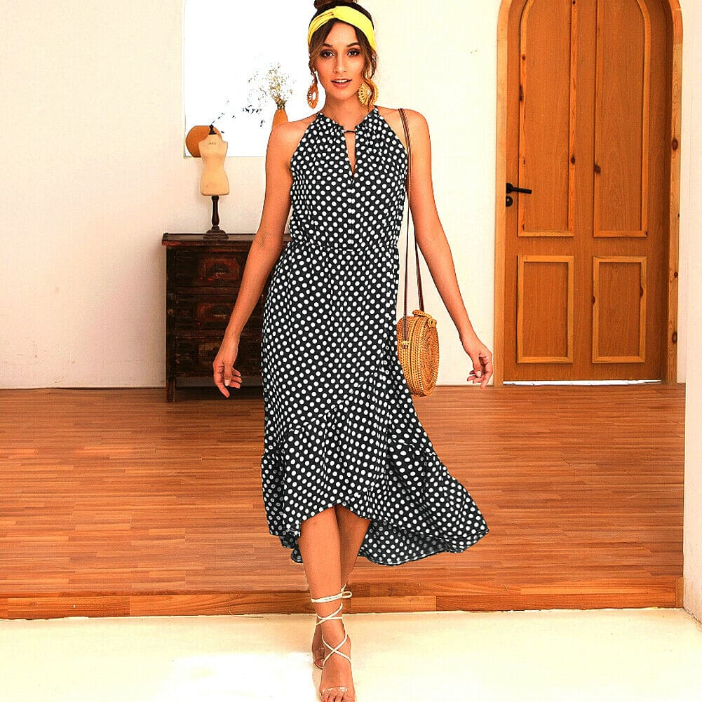 Boho Women Summer Holiday Polka Dot Ruffle Dress Fashion Ladies Sleeveless Halter Neck Casual Dress Sundress
