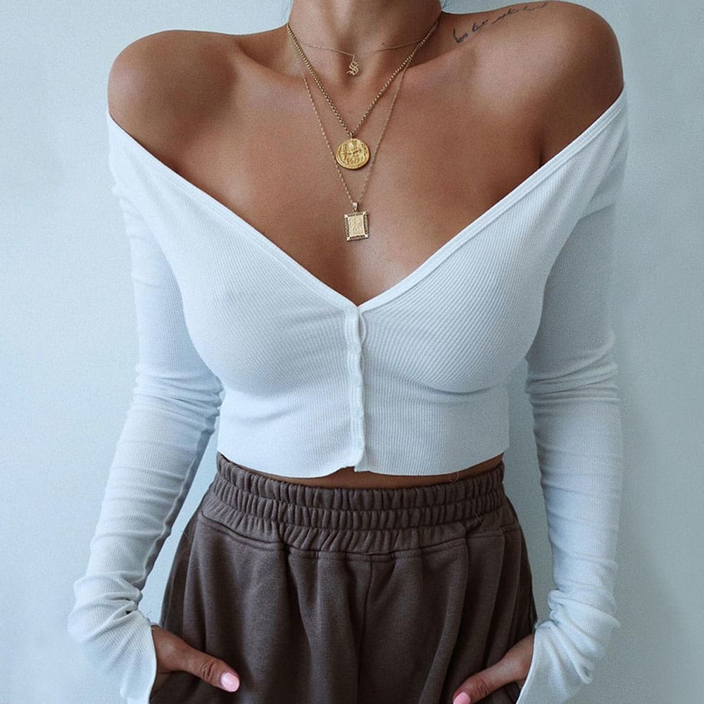 Summer Solid Casual Tops Vest Blouse Long Sleeve Button Crop Shirt