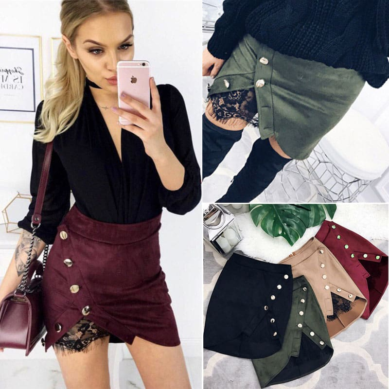 Women Ladies High Waist Pencil Skirts Button Lace Patchwork Sexy Bodycon Suede Leather Split Party Casual Mini Skirt