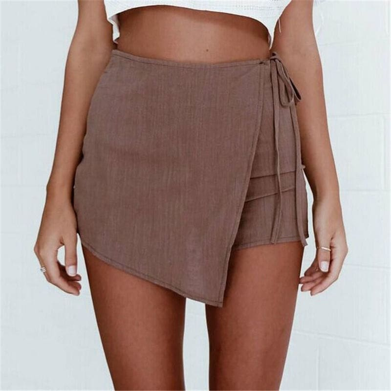 Fashion Sexy Lady Women Solid Summer Shorts Sexy Casual High Waist Irregular Bandage Shorts Hot