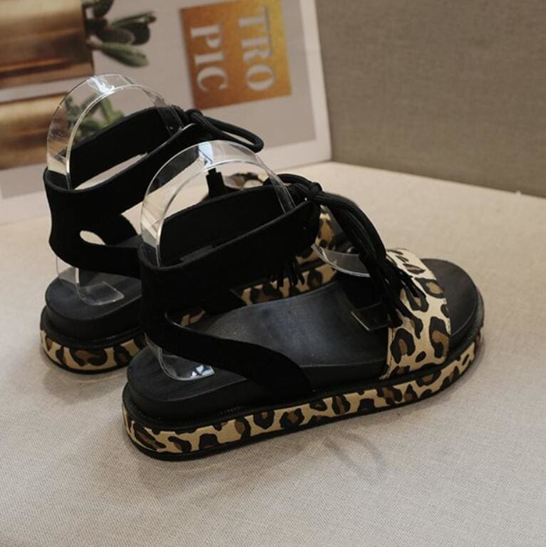 Ladies Lace Up Sandals Flat Non Slip Shallow Leopard Beach Sandals