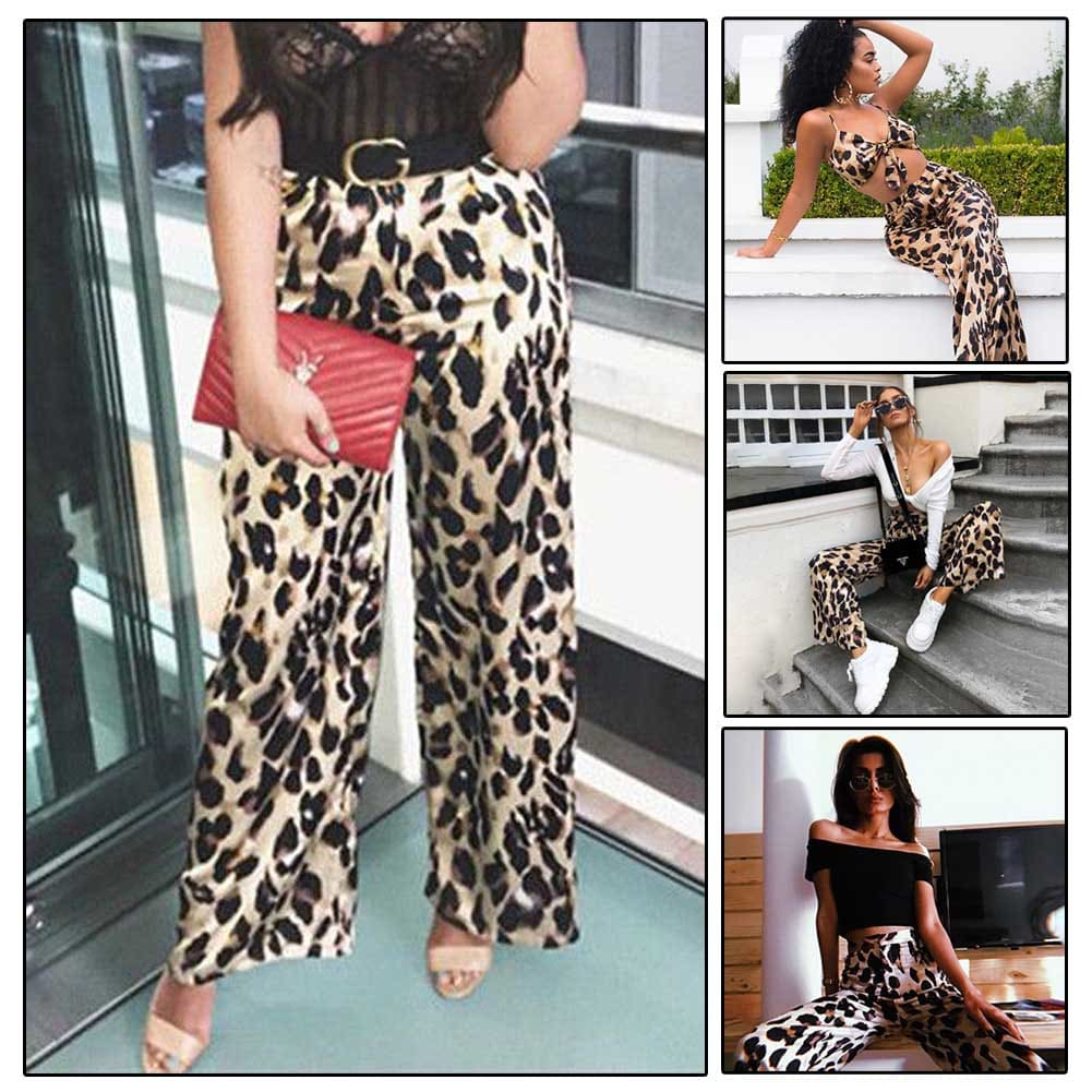 Fashion Leopard Print Women Ladies Casual High Waist Wide Leg Long Loose Pant Beachwear Palazzo Trouser