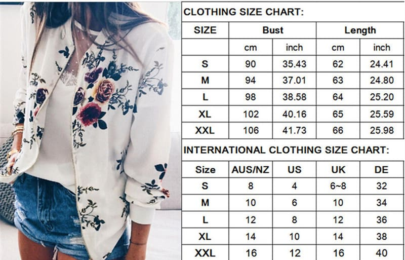 Women Jacket Lady Bomber Floral Print Street Outwears Polyester