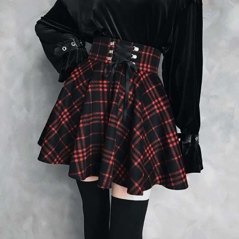 Plaid Pleated Ball Gown High Waist Lace Up Wool Skirt Bottom