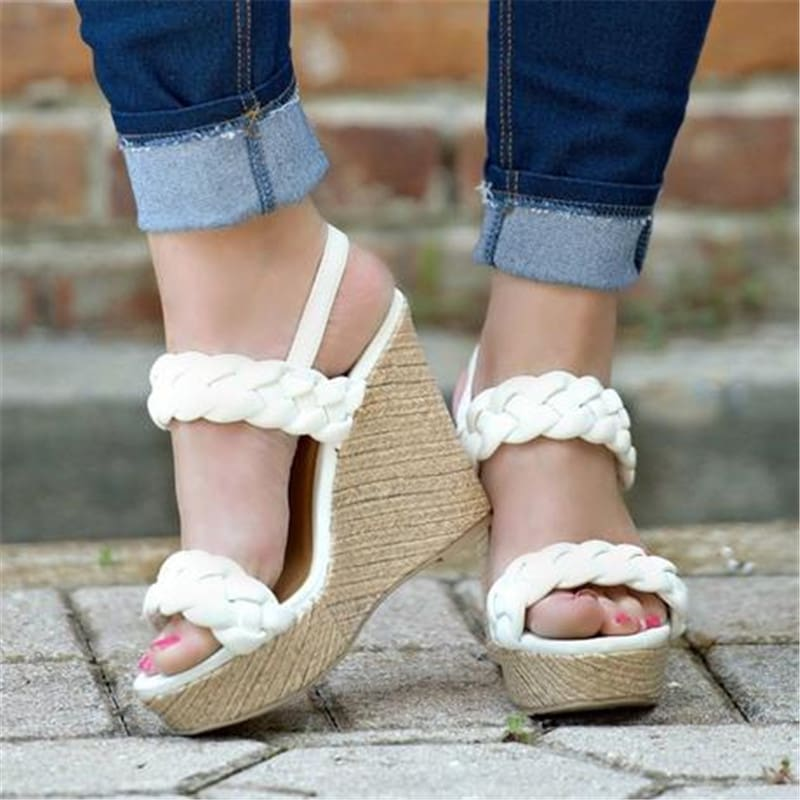 Hemp Rope Wedges Sandals Shoes