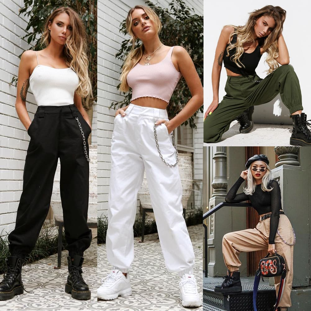 Stretch Waist Military Army Camouflage Camo Cargo Trousers Casual Harem Hip Hop Pants With Chain