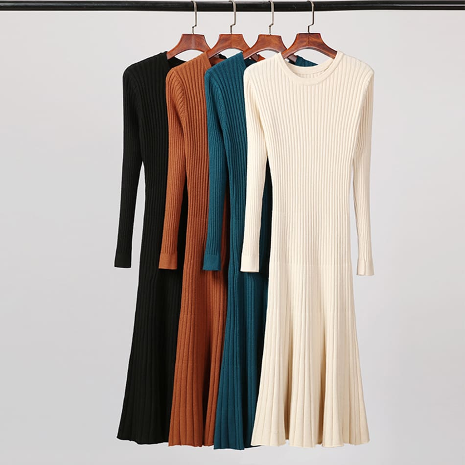Long Knitted Sweater Dress for Women Casual Winter Sweater Dress