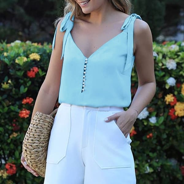 Womens Sleeveless Tank Tops Vest Ladies Summer Casual Loose Cami Shirt Blouse