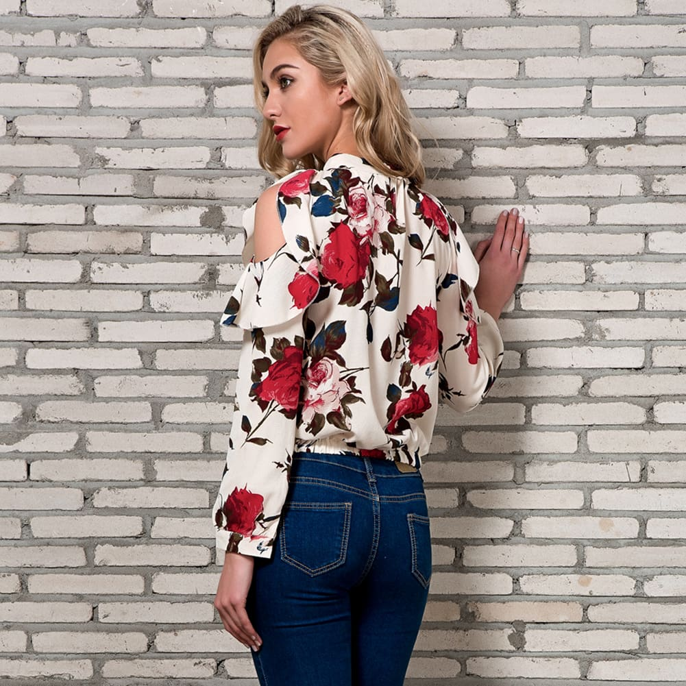 Fashion Boho Women Summer Floral Chiffon Shirt Tops Elegant Ladies Casual Long Sleeve Crew Neck Loose Blouse Shirts