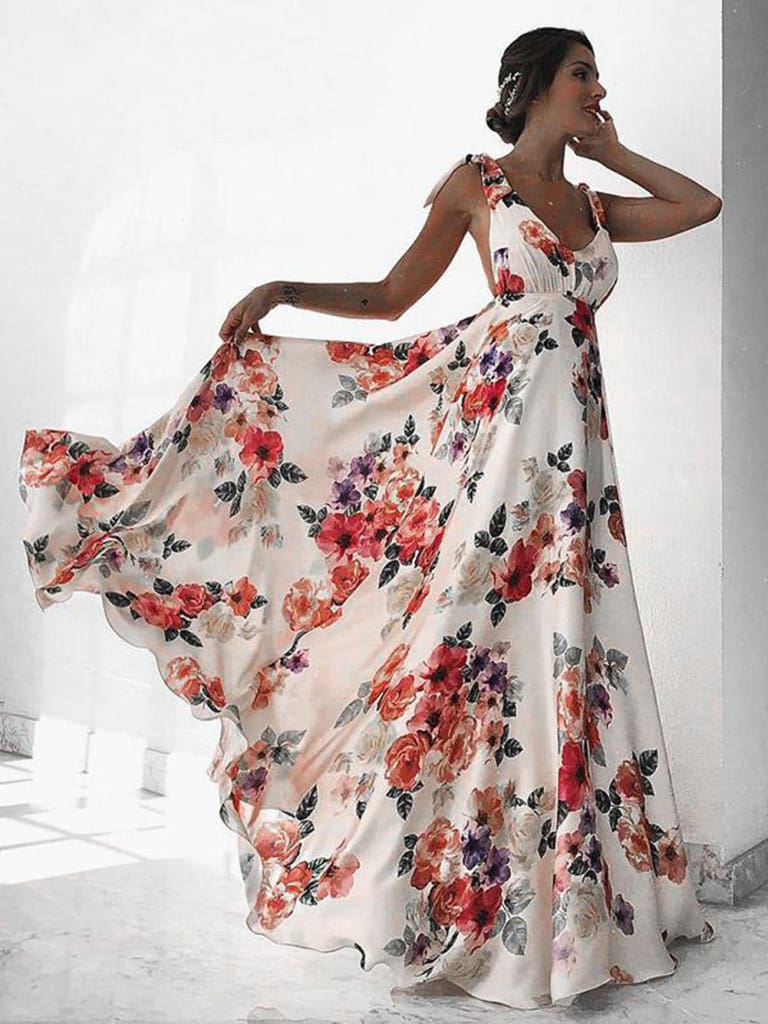Fashion Floral Dress Women Summer Sleeveless V-Neck Backless Vintage Long Boho Party Casual Loose Beach Sundress