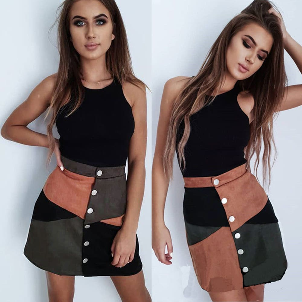 Fashion Women High Waist Suede Button Short Mini Skirts Ladies Summer Holiday Casual Patchwork A-Line Mini Skirt