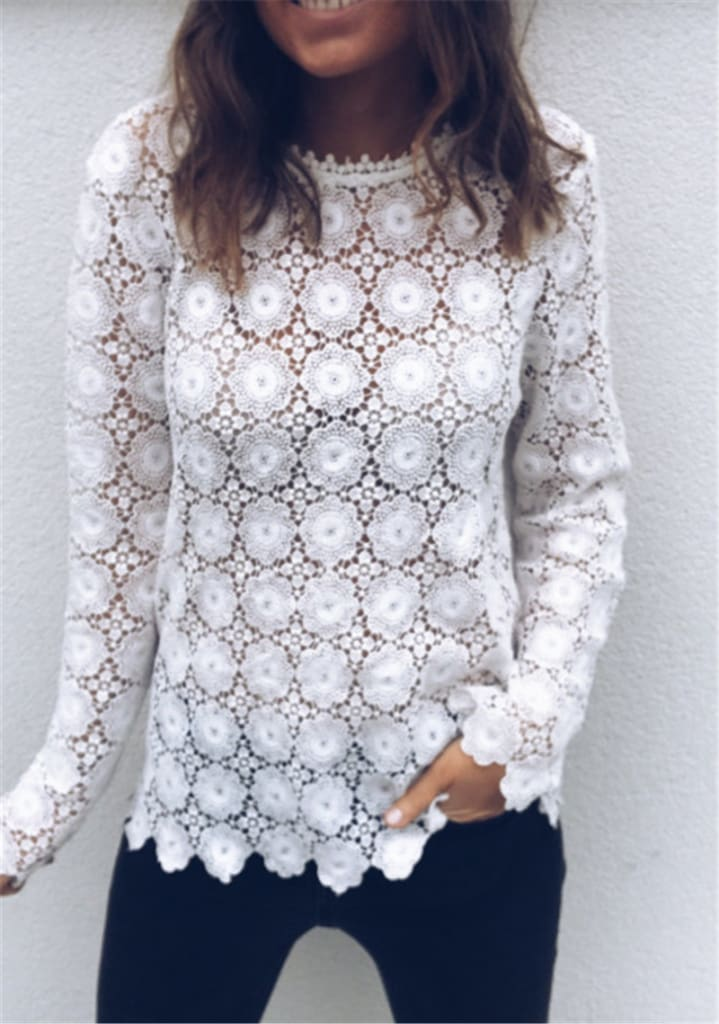 Fashion Women Boho Beach Holiday Summer Loose Casual Chiffon Lace Floral Embroider White Tops Femme Ladies Mesh Shirt