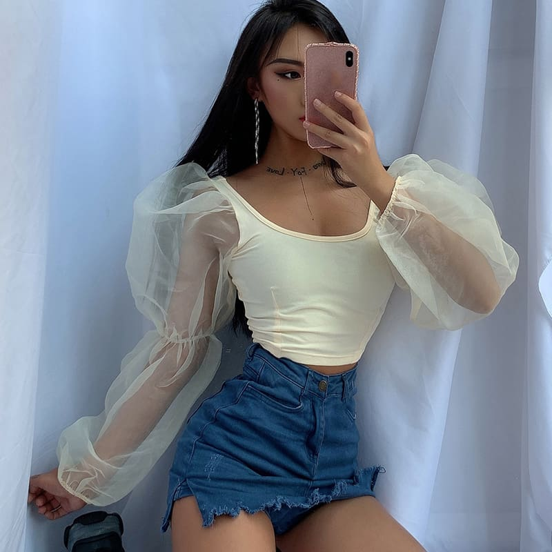 Women Blouse Tops Sheer Long Sleeve Casual Blouse Slimmer Fitting Solid Holiday Crop Tops Shirt