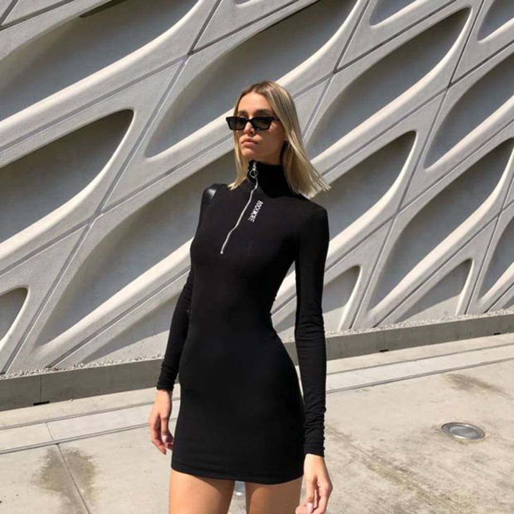 2019 New Sexy Women Summer Casual Bodycon Long Sleeve Zipper High Neck Short Mini Dress Casual Sportwear