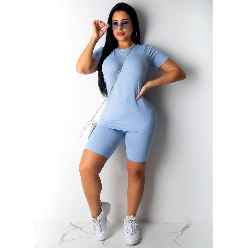 2PCS Women T Shirt Tops + Shorts Pants Bodycon Solid Color Jogging Gym Casual Outfit Sportswear Workout Tracksuit