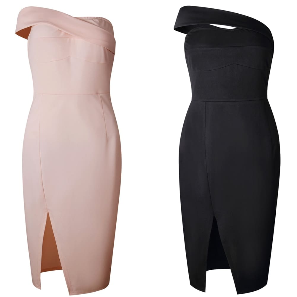 Women Bodycon Dress One Shoulder Lady Slash Sleeveless Knee Dresses