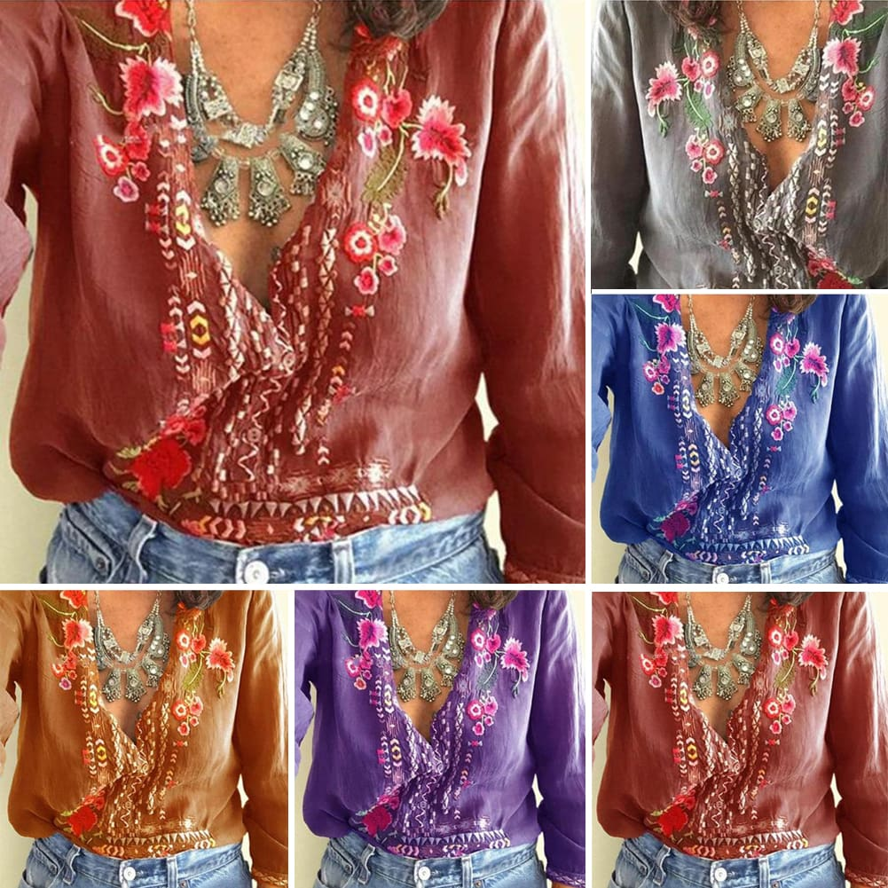 Fashion Women Long Sleeve V-Neck Blouses Ladies Summer Floral Printed Casual V-Neck Loose Tops Shirt Plus Size