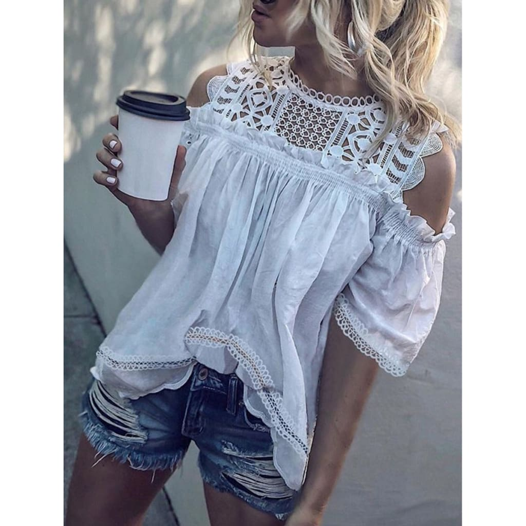 Fashion Women Summer Off Shoulder Short Sleeve Shirt Lace Casual Tops Tee Hollow Out Hot Sexy Beach Loose T-shirts