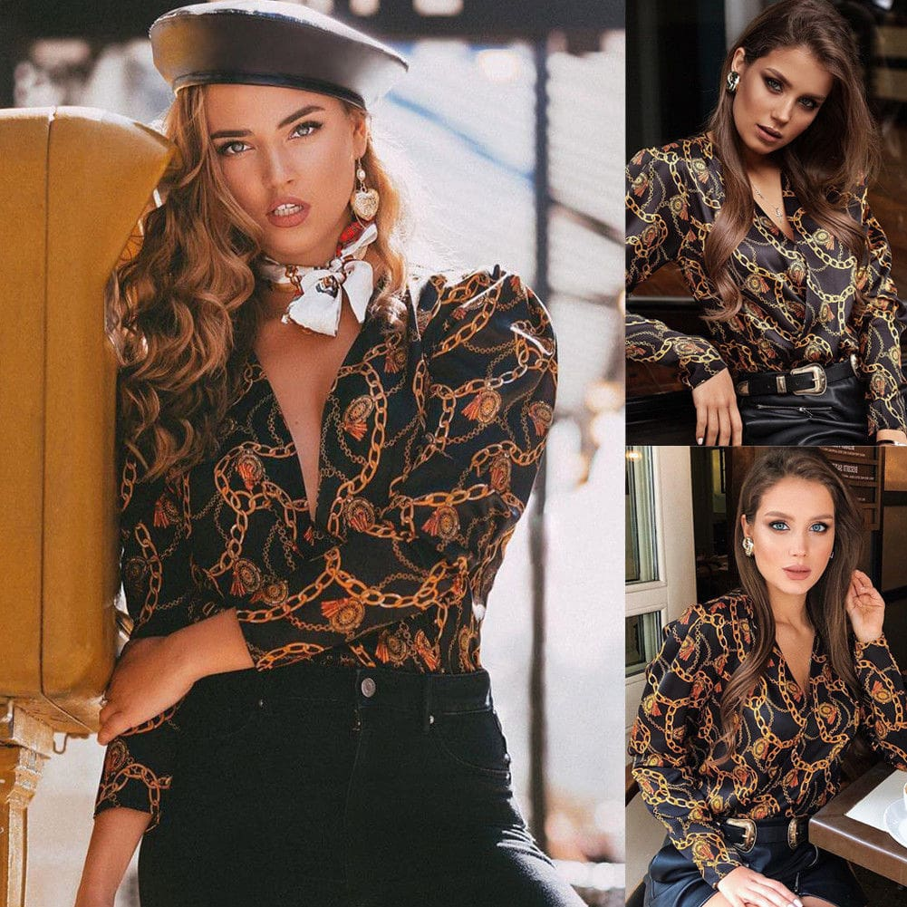 Elegant Women Boho Floral Print Top Casual Loose V-Neck Blouse Fashion OL Ladies Long Sleeve Beach Shirts
