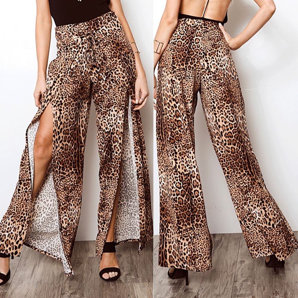 2019 New Fashion Women Boho Floral Flare Long Pants Palazzo Baggy Wide Leg Summer Casual Trousers Loose Culottes