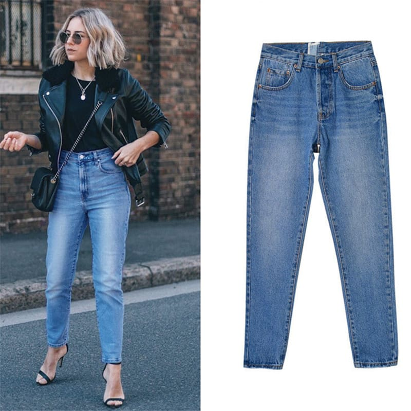 Skinny Streetwear Jeans Zippers Fashion Women High Waist Pencil Pants