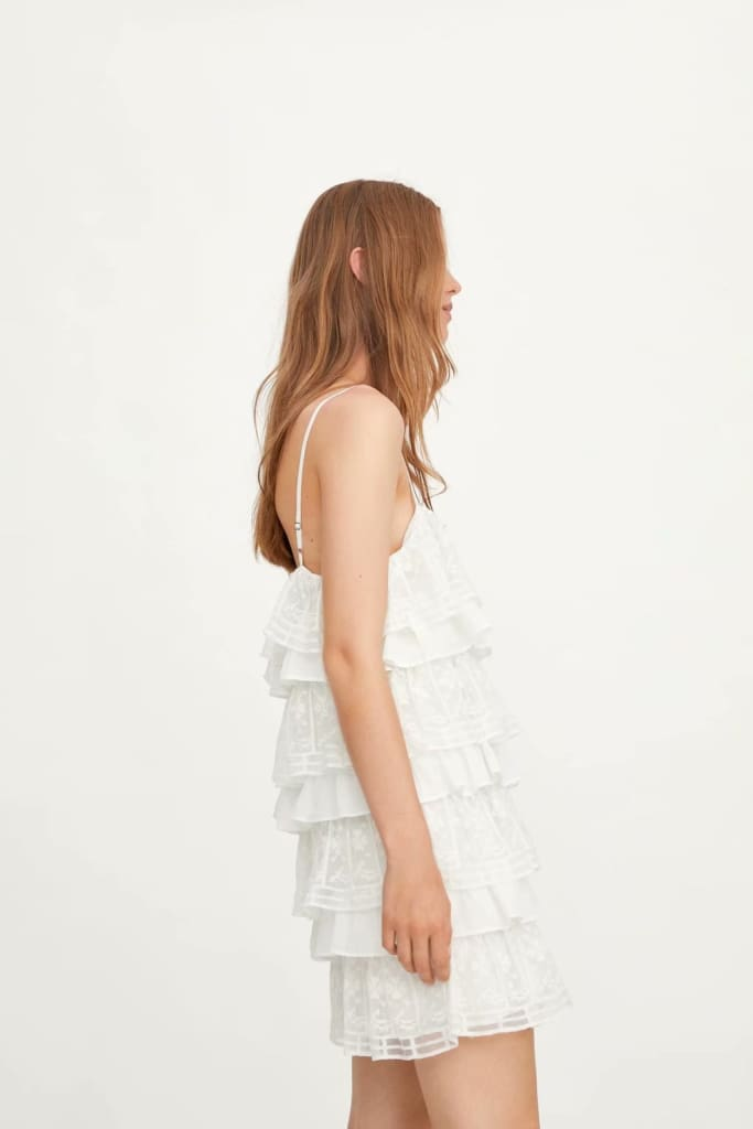 White Dress Lace Condole Belt Party Embroidery Summer Mini Women Dress