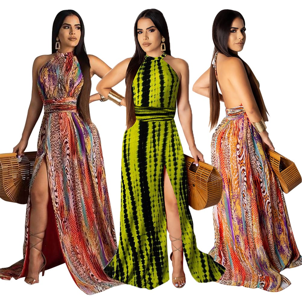 Boho Women Maxi Dress Ladies Casual Sleeveless Halter Neck Floral Fashion Summer Beach Party Long Sundress