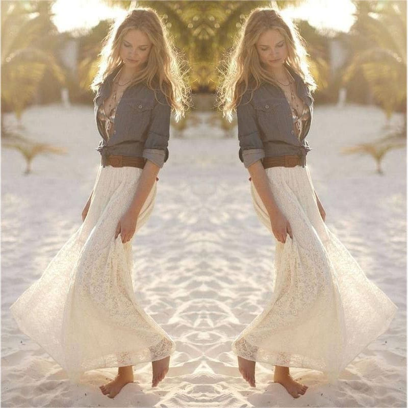 New Fashion Women High Waist Beach Skirt Stretchy Double Lace Layer Chiffon Maxi Casual Long Skirt Summer Beach Sundress