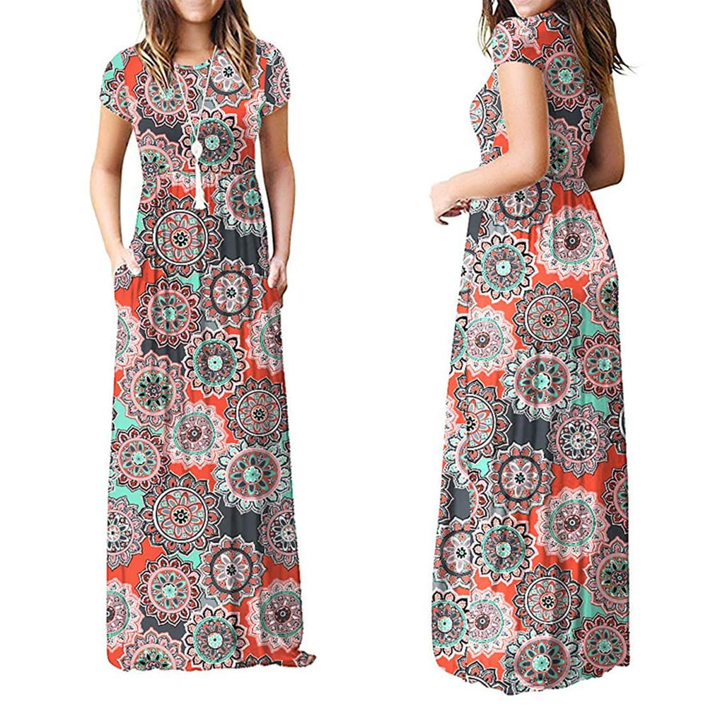 Summer Short Sleeve Long Dress Floral Print Boho Beach Dress Tunic Maxi Dress