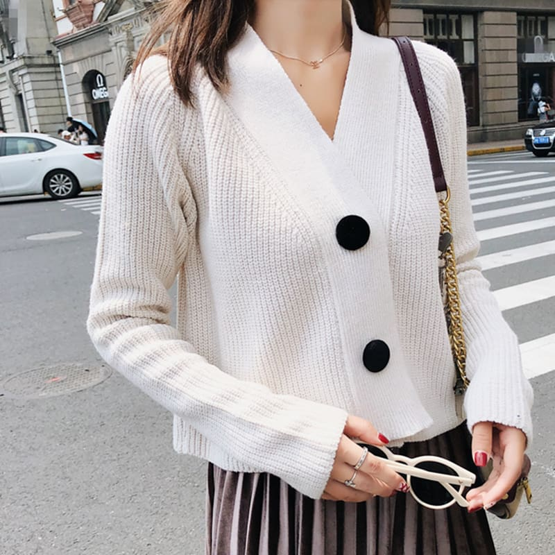 Women Cardigan with Button Long Sleeve V-Neck Knitted Cropped Cardigan
