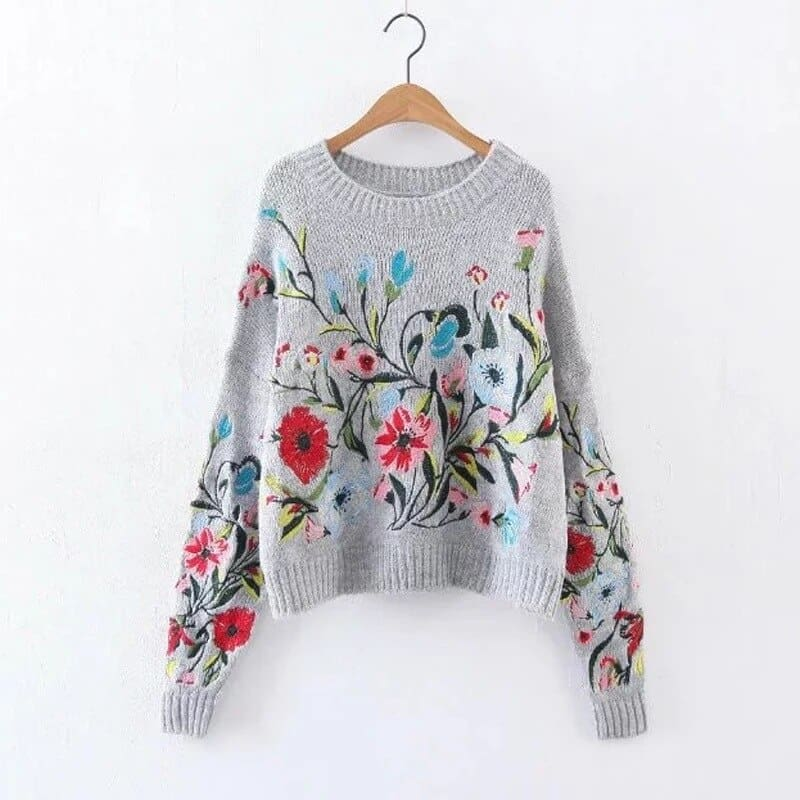 Winter Cashmere Women Sweaters and Pullovers Embroidery Ladies Tops