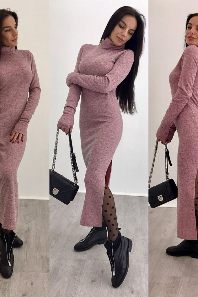 Knitted Bodycon Maxi Dress V Neck Long Sleeve Women Long Thin Dress