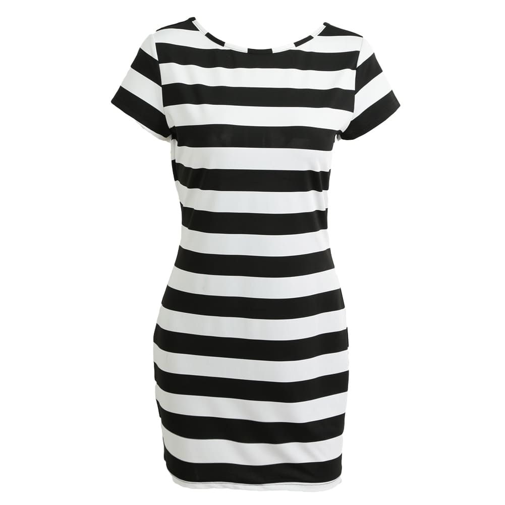 Dress Bow Backless Short Sleeve Striped Dress Mini Bandage Dress