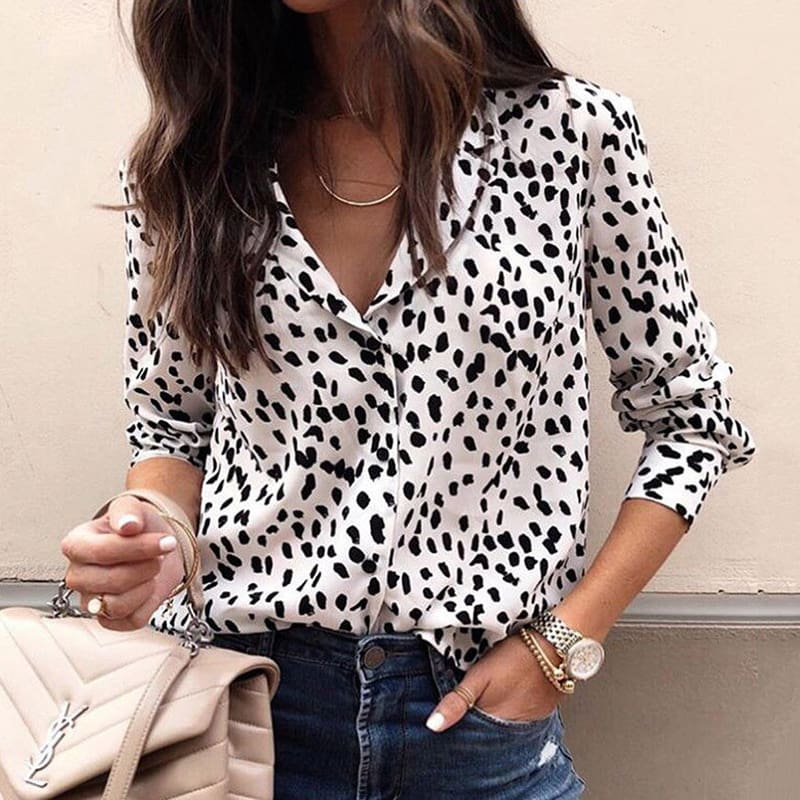 Fashion Women Long Sleeve Leopard V neck Shirt Casual Ladies OL Party Loose Top Shirts Dames Streetwear Plus Size Hot Top