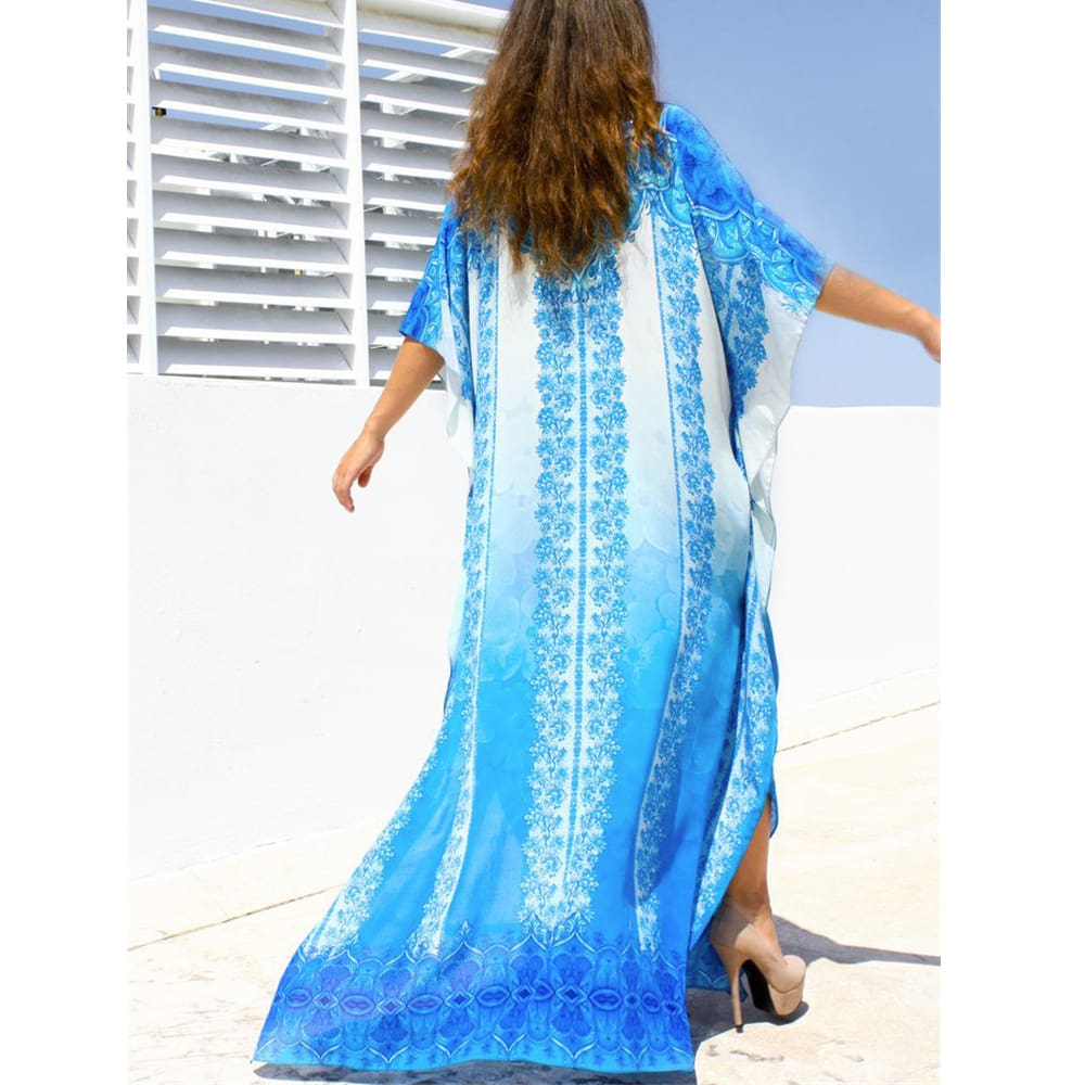 Women Casual Bikini Cover Up Swimwear Loose Beachwear Sundress Baggy Tunic Tops Kimono Boho Sarong Kaftan Sun Dress