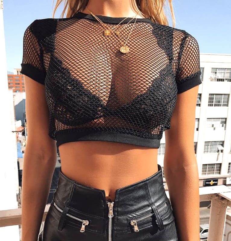 Fashion Crochet Fishnet Sleeveless Crop Top Women Ladies Summer Boho Tank