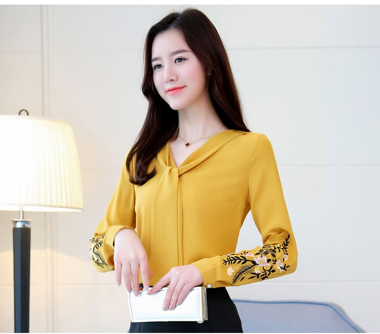 Long sleeve embroidery chiffon blouse womens and 2019 office shirt