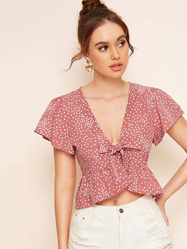 2019 Fashion Summer Women Ruffle Polka Dot Tops Ladies Casual Hem Tie Front Top Bow V Neck Blouse Tops Shirt