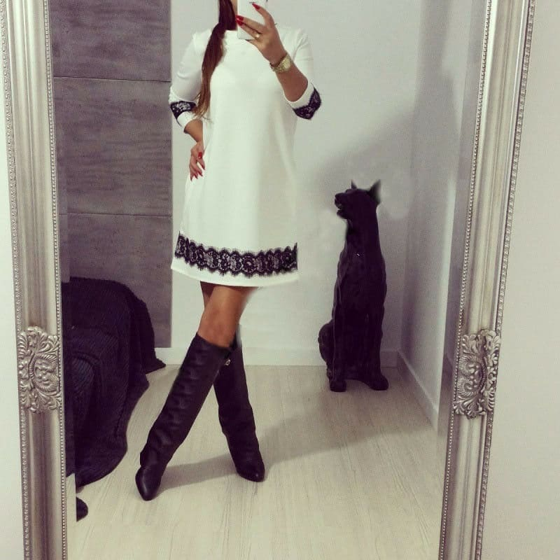 Fashion White Lace Women Autumn Long Sleeve Casual Cocktail Dress Ladies Evening Party Tunic Mini Dresses