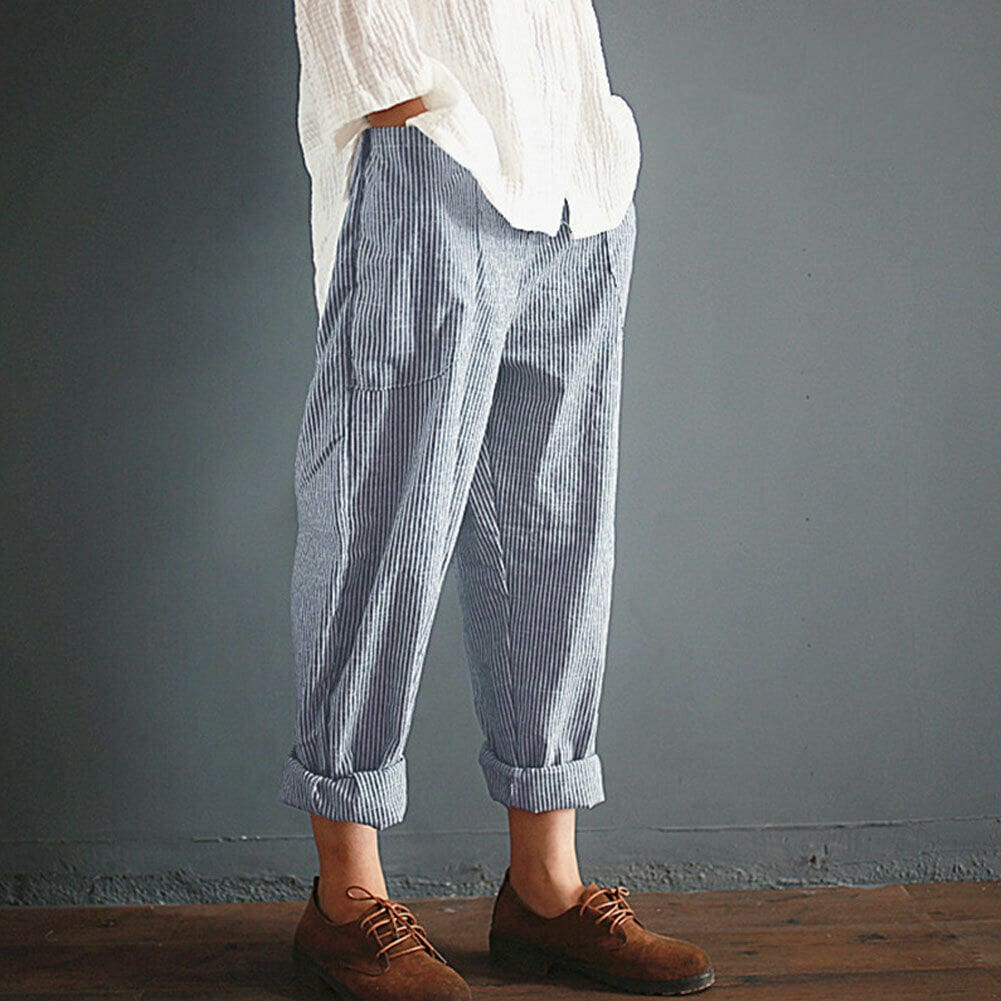 Fashion Women High Waist Elastic Long Pants Baggy Casual Loose Harem Maxi Trousers Summer Outdoor Wide Leg Pants New