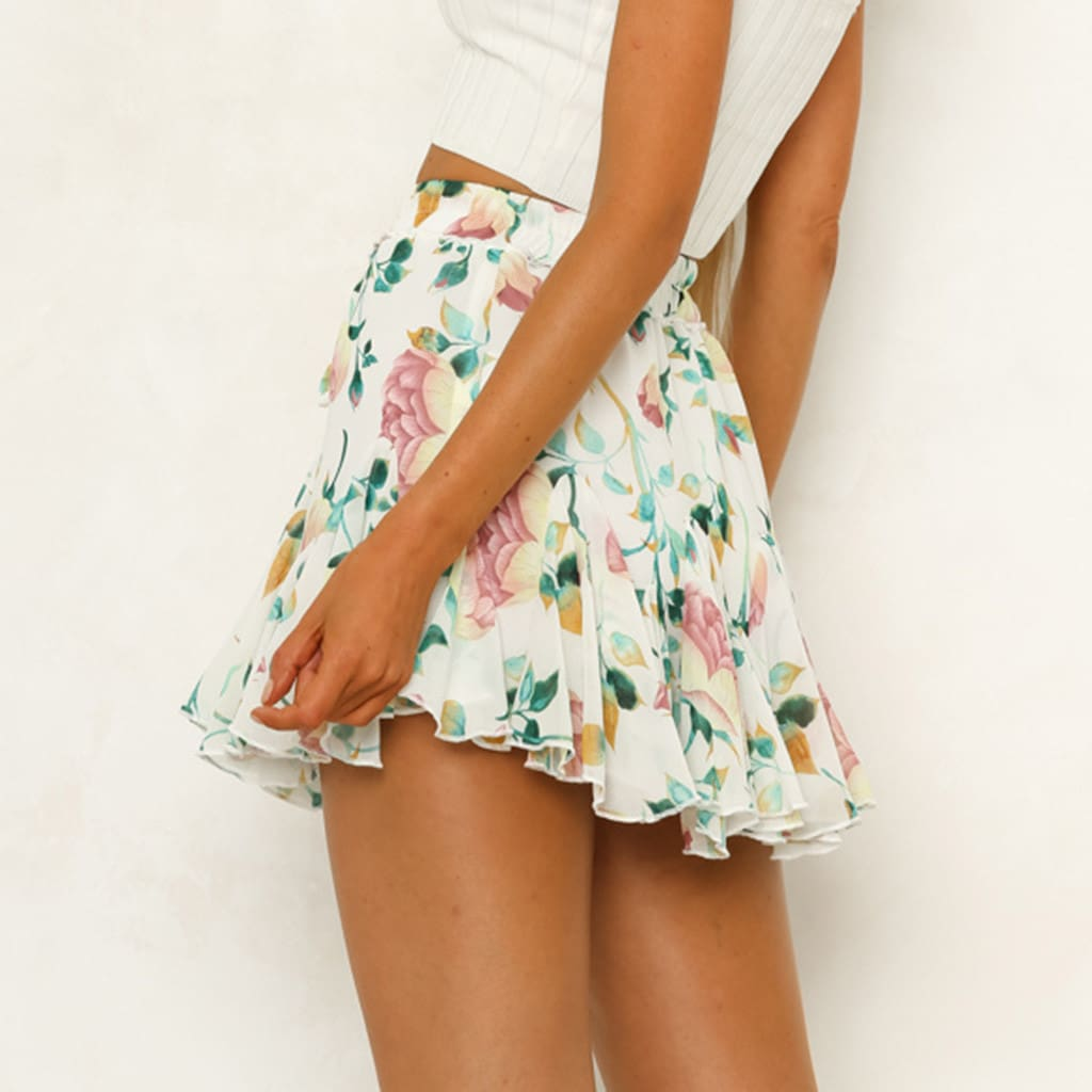 Womens Floral Printing Party Short A-Line Skirts